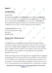 'Machine Man' | Analytical essay | 10 i karakter