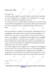 'Be Here Now' | Analytical essay | 10 i karakter