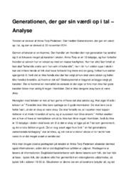 Generationen | Analyse | Anna-Torp Pedersen | 10 i Karakter