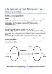 Liste over fagbegreber, fokuspunkter og tekster | Noter Dansk