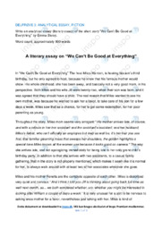 'We Can't Be Good at Everything' | Analytical essay