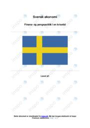 Finans- og pengepolitik i en krisetid | Sverige | IØ