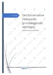 Det Konservative Folkepartis grundlæggende ideologier   Opgave