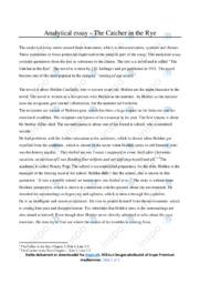 'The Catcher in the Rye'   Analytical essay   10 i karakter