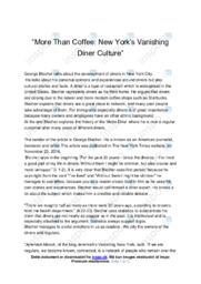 'New York's Vanishing Diner Culture'   Analysis   10 I karakter