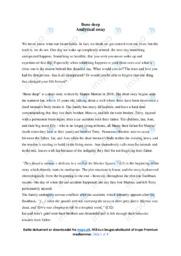 Bone deep | Analytical essay | 10 i karakter