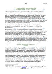 Food and health   Argumentative essay