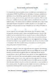 Social media and mental health   Essay