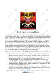 Book report on 'Animal farm' | Engelsk | 12 i karakter