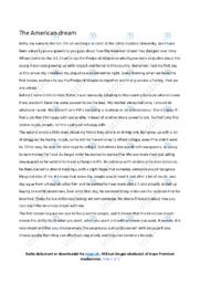 The American dream | Essay