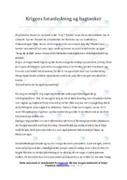 Krigens foranledning og bagtanker | Essay