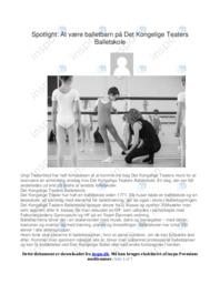 At være balletbarn på Det Kongelige Teaters…   Noter Analyse