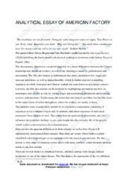 American Factory   Analytical essay   10 i karakter