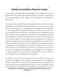 'Climate Controlled' by Rhiannon Cowan | Analytical essay