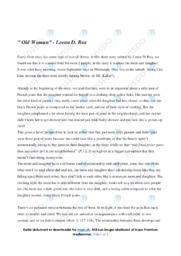 'Old Woman'   Analysis   10 i karakter