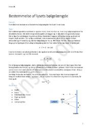 Bestemmelse af lysets bølgelængde | Fysik Rapport