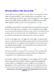 DNC speech | Analyse | Michelle Obama | 12 i Karakter