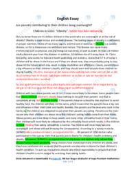 Children being overweight | Engelsk Essay | 12 i Karakter