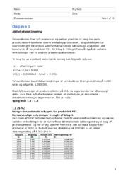 Virksomhedsøkonomi |  Opgave om aktivitetsoptimering
