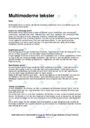 Multimoderne tekster   Noter Analyse