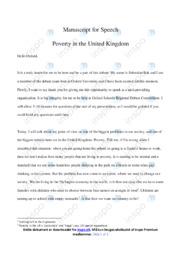 Speech   Poverty in the United Kingdom   Engelsk   10 i Karakter