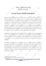 Corona, kolera og kultur-kroner   Analyse   Peter Pentz
