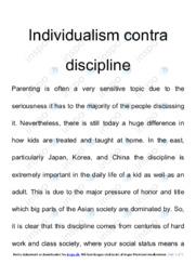 Individualism contra discipline   Engelsk Essay