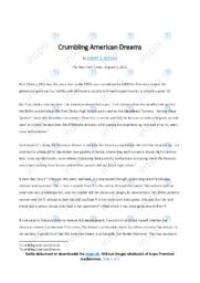 Crumbling American Dreams   Noter Analyse   Robert D. Putnam