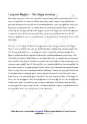 Langston Hughes One friday morning | Analyse | 12 i karakter