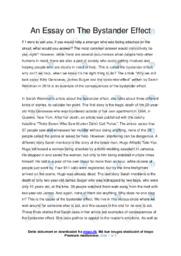 The Bystander Effect   Engelsk Essay   10 i Karakter