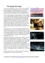 The sinking ship Titanic   Engelsk Essay   10 i Karakter