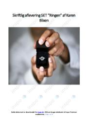 Ringen | Analyse | Karen Blixen | 10 i Karakter