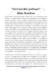 Livet kan ikke genbruges   Analyse   Rikke Henriksen