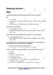 B&O   Noter Afsætning Case