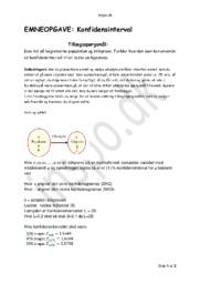 Konfidensinterval – Emneopgave   Matematik