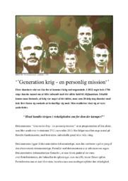 ''Generation krig – en personlig mission'' | Analyserende artikel